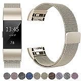 HUMENN Für Fitbit Charge 2 Armband, Luxus Milanese Edelstahl Handgelenk Ersatzband Smart Watch Armbänder mit Starkem Magnetverschluss für Fitbit Charge2, Small Vintage Gold