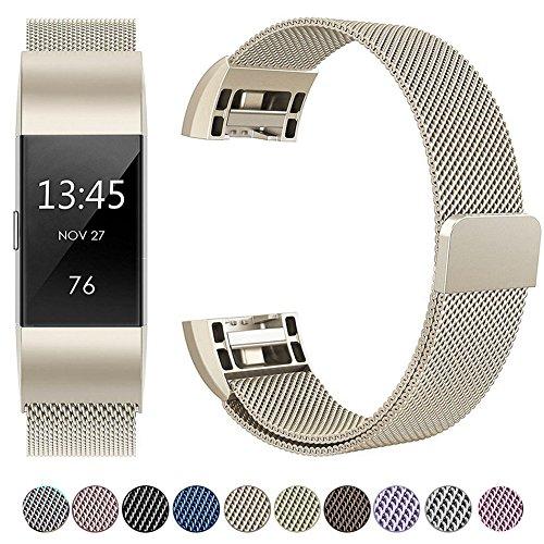 Für Fitbit Charge 2 Armband, HUMENN Luxus Milanese Edelstahl Handgelenk Ersatzband Smart Watch Armbänder mit Starkem Magnetverschluss für Fitbit Charge2, Small Champagner