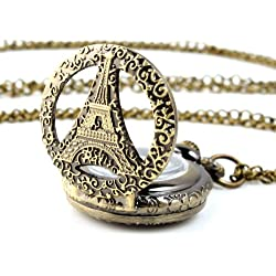 UNIQUEBELLA Pocket watch-Quartz-Men/ Women/ Children-Vintage-Alloy Chain/Necklace-A5 RA0012-Bronze-The Eiffel Tower