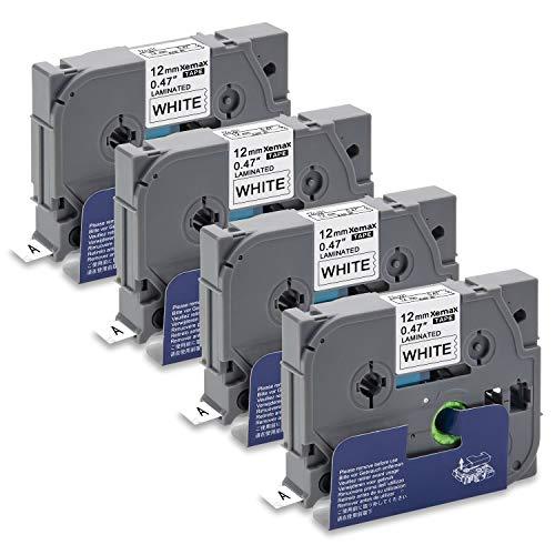 Xemax 4x 0.47' P-touch Tze-231 Tz-231 12mm x 8m Nero su Bianco laminato Nastri per Etichette, Comaptibile con Brother P-touch PT-D210 PT-H105 PT-H101C PT-D600VP PT-P750W PT-1000 PT-1010 PT-2030VP