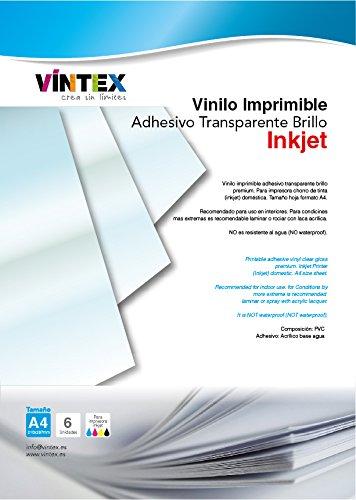 Vinilo Adhesivo Imprimible Transparente Brillo - Impresora Tinta (PREMIUM) - VINTEX (6)