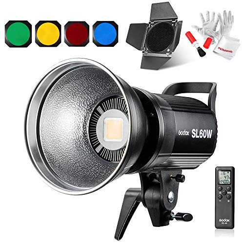 Godox SL60W Kit Dauerlicht Videoleuchte 5600K Weiß Licht 1 Barndoor Kit
