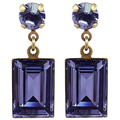 Ohrringe mit Kristalle von Swarovski® Gold Lila NOBEL SCHMUCK (Kristall Schmuck Lila)