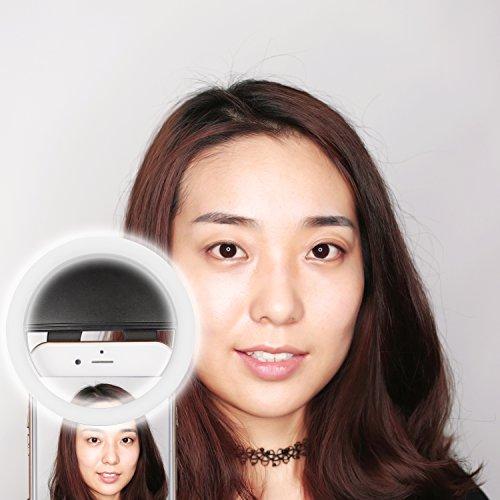 Neewer® 36 LED Luce ad Anello Clip-on per Selfie per Notte o Condizioni di Scarsa Luminosità Illuminazione Supplementare Faretto con 3 Livelli di Luminosità per iPhone Samsung HTC e Altri Smartphone (Nero) SRL-36