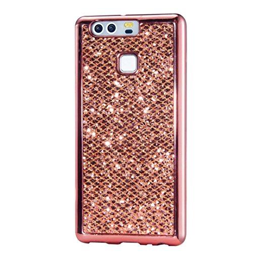 Huawei P9 Cover, KSHOP Conchiglia per Samsung Huawei P9 Custodia TPU Silicone Bling Bling Glitter (Colonne Lisce)