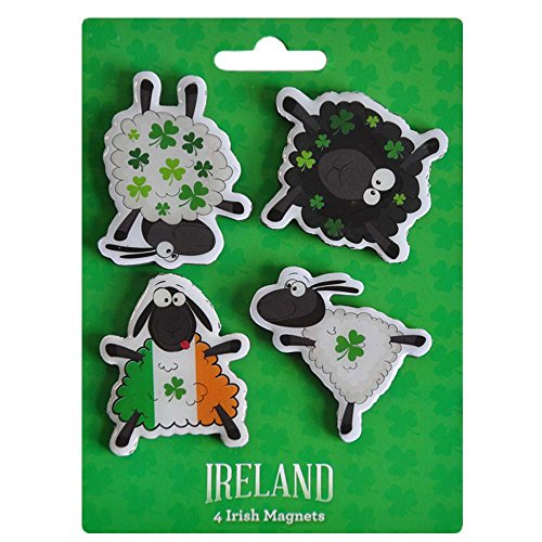 4 Pack Of Magnets With Dancing Shamrock Designed Sheep -