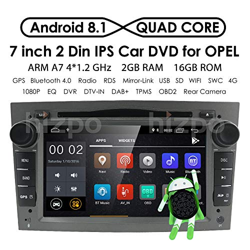 Android 8.1 Doble Din Radio estéreo del coche Pantalla táctil de 7 pulgadas en el tablero Navegación GPS Soporte WiFi Bluetooth Mirror Link SWC OBD para Opel Antara Vectra Crosa Vivaro Zafira Meriva