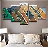 FFFZDCKAY Bilder 5-teilig Leinwandbilder Sport Leinwandbilder Home Wandkunst Dekor HD Prints Poster Sport Surfboard Gemälde Für Wohnzimmer Kein Rahmen