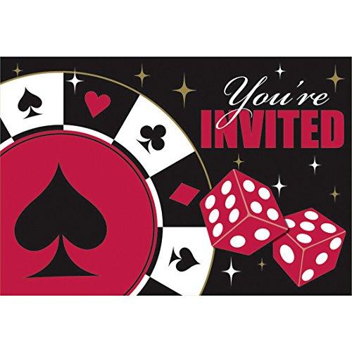 Amakando Partyeinladungen 8 Einladungen Place Your Bets mit Umschlägen Las Vegas Einladungskarten Zockerabend Einladungskartenset Spieleabend Mottoparty Karten mit Umschlag Gambler Invitation