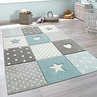 Paco Home Alfombra Infantil A Cuadros Corazones Estrellas Tamaños, tamaño:80x150 cm, Color:Azul