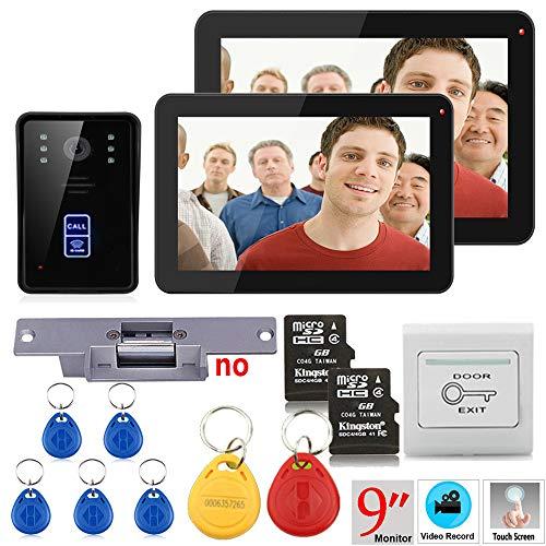 Hardwired Chime Kit (NBKLS Video-Türklingel 9 Zoll 2 Monitor Aufzeichnung RFID 900TVL Farbe Video Türklingel-Intercom Set regensichere Nachtsicht-8G TF Karte + Schockschloss)
