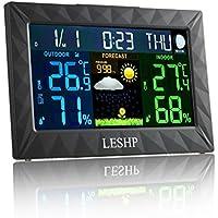 WellingtonOak LESHP LCD Termómetro Higrómetro Estación meteorológica Temperatura Interior y Exterior Humedad Tiempo Reloj Alarma Snooze Calendario