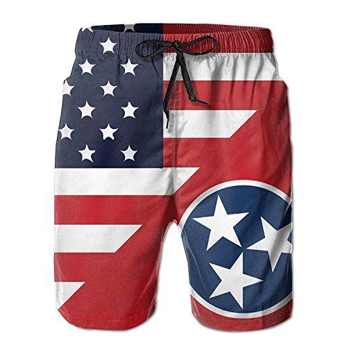 Linkla Danniol Mens America Tennessee State Flag Summer Breathable Swim Trunks Beach Shorts Cargo Shorts Medium