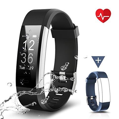 Fitness Armband, LATEC Fitness Tracker Uhr mit Pulsmesser, Wasserdicht IP67 Aktivitätstracker Pulsuhren Bluetooth Smart ArmbandUhr Schrittzähler mit Schlafmonitor Kalorienzähler Anruf SMS