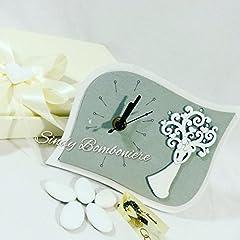 Idea Regalo - Sindy Bomboniere Bomboniera originale per matrimonio OROLOGIO con sposi albero della vita in rilievo anniversario sposi (kit per il confezionamento)