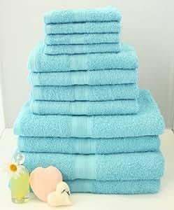 12 tlg. Handtuchset in Türkis, 2xBadetücher, 2xDuschtücher, 4xHandtücher, 4x Gästetücher