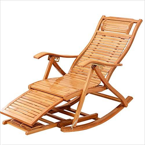 XITER HOME Tumbona Silla/Mecedora portátil de Madera de bambú Multifuncional con reposabrazos Moderna Silla de diseño de recreo para Almuerzo Rotura casa balcón