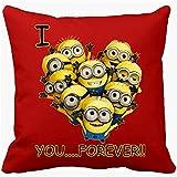 Cojín con relleno Minions I Love You Forever - Rojo, 35 x 35 cm