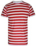 Mens Boys Red & White Striped Tshirt Hat Glasses Fancy Dress (SOLD SEPARATELY OR AS A SET)