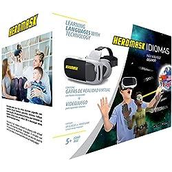 Gafas Realidad Virtual Niños + Juego Educativo Idiomas [Regalo Original]. Aprende inglés, francés... Juguete 5, 6, 7, 8… años - Gafas 3D con botón - videos virtuales - Cumpleaños - Navidad - VR