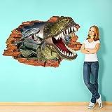 MEIJING horribles de Halloween 3D Pegatinas de pared decoración del hogar Arte Papel pintado mural dormitorio de los niños del cartel del dinosaurio decoración de la pared Pegatina Vinilo PVC 3D Decoración Pared Hogar Sala Habitación Cocina