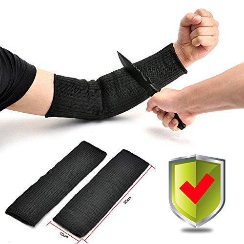 Preisvergleich Produktbild Yosoo Kevlar Sleeve Armschutz Unterarmschütze Anti-Schnitt Brennen Resistent Arm Sleeve - 1 Paar - Schwarz