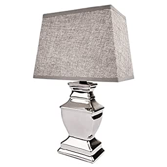 tischlampe keramik silber lampe mit lampenschirm in grau. Black Bedroom Furniture Sets. Home Design Ideas