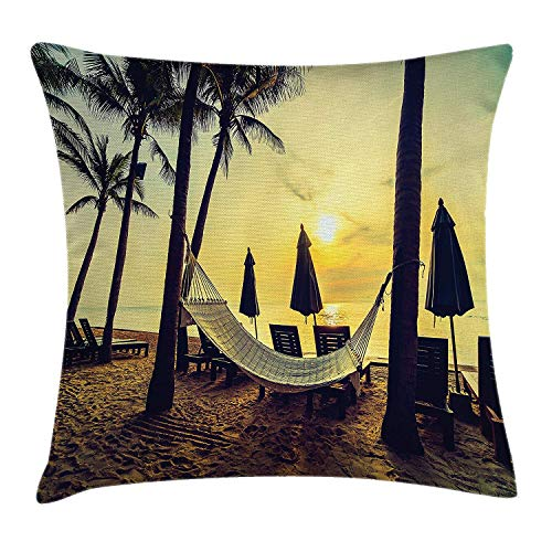 llow Cushion Cover, Photo of Empty Hammock on Beach at Sunrise Time with Coconut Palm Tree Exotic Print, Decorative Square Accent Pillow Case, Multi, 18 X 18 Inches ()