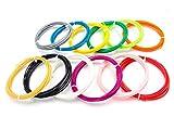 vhbw Set filamentos ABS Negro, Blanco, Amarillo, Verde, Rojo, Azul, Lila, Rosa, Naranja, Gris. para bolígrafos 3D 3m Long, 1.75mm diám.