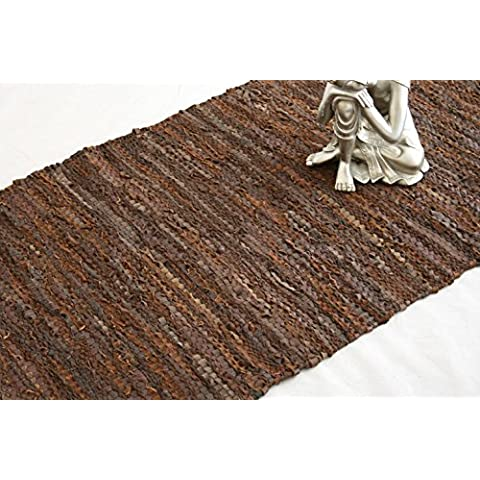 Homescapes Leather Rug Denver Brown 90x150 cm. Recycled Eco Friendly 100% real leather rug, multi purpose rug by Homescapes - Duty Bed Mat
