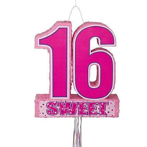 2 Schnürren Pullpinata 50 cm groß, 16. Geburtstag ()