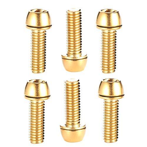Funyake 6-teilig Innensechskant Kappe Schraube Titan Vergoldet Schrauben Bolzen M5*18mm für Mountain Bike Lenker - Gold