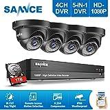 [1980*1080P HD] SANNCE Kit de 4 Camaras de Vigilancia Seguridad (Onvif H.264 CCTV DVR P2P 4CH AHD...