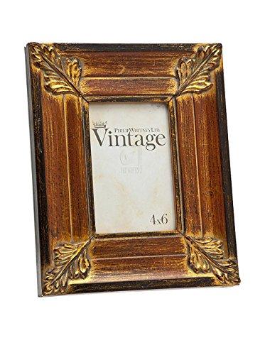 Philip Whitney P.W. Vintage Bilderrahmen Rot mit Blattgold 4x 6 Bilderrahmen Von Philips