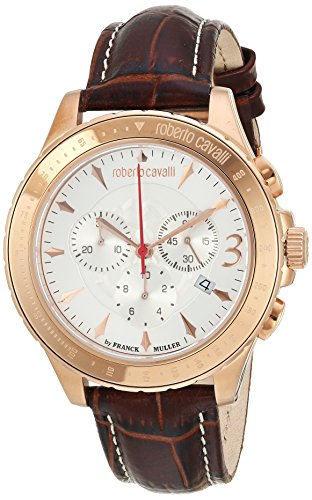 Roberto Cavalli by Franck Muller Men's 'ROUND Chrono' Quartz Stainless Steel and Leather Casual Watch, Color:Brown (Model: RV1G014L0026)