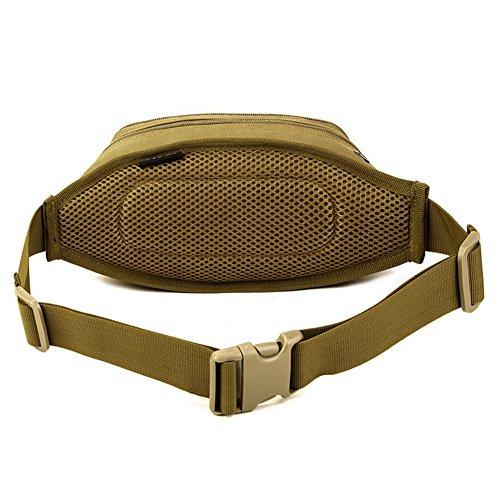 Imagen de huntvp  táctical bolso de cintura bolsa riñonera bandolera cinturón estilo militar bolso de múltiple función riñoneras para herramientas  ejércita bolso impermeable para correr, senderismo, ciclismo,camping, caza, etc, color marrón alternativa