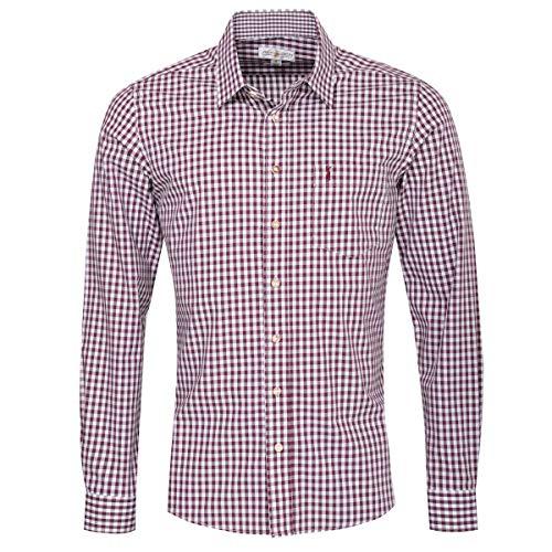 Almsach Almsach Herren Trachtenhemd Slim-Fit Slim-Line Trachten-Mode traditionell-kariert s-XXL viele Farben, Größe:S, Farbe:Aubergine