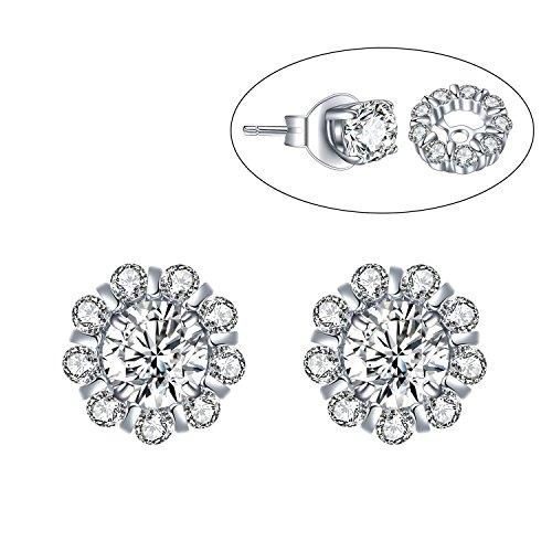 """9373ec2da7bc6 Women Earrings, """"Two Wear Ways"""" 925 Sterling Silver Stud Earrings ..."""