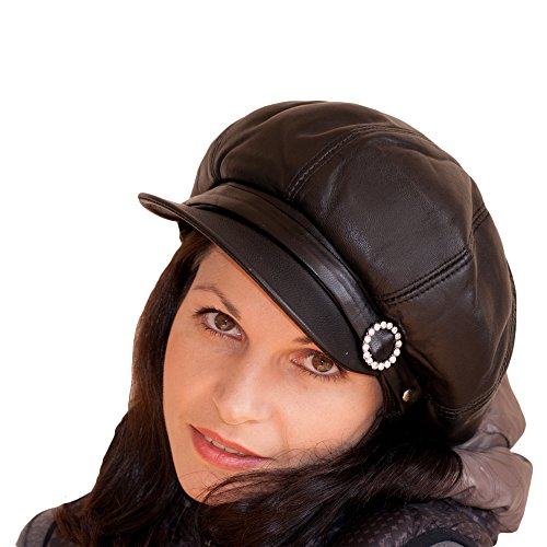 Dazoriginal Womens Big Baker Boy Cap Leather Hat Newsboy ...