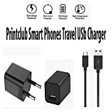 Xiaomi Mi MIX 2 Compatible Wall Charger,Travel Charger,Mobile Charger 1,2 Amp,Single Port USB India Plug Wall Charger Adapter With 1.2 Meter Micro USB Cable By Printclub,White/Black