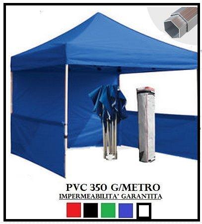 Gazebo pieghevole blu alluminio esagonale 40mm 3x3 + 4 teli laterali pvc 350 g metro