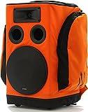 Partybag, ein tragbarer Verstärker mit einem wiederaufladbaren 100 Watt-AKKU integriert in einem Rucksack - Orange