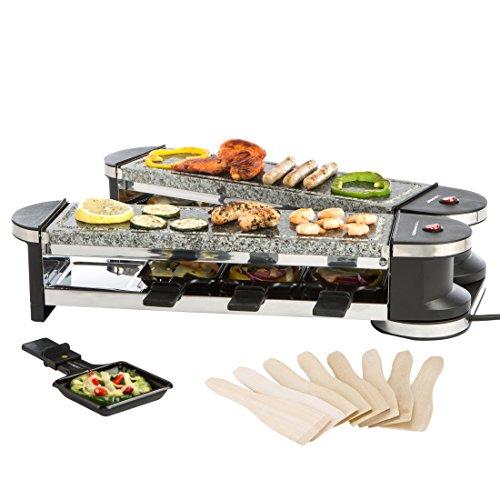 Ultratec RG1200S Raclette- Grill (1200 Watt, Duo 4 Gelenkgrill, Raclette-Grill mit Naturstein Grillplatten für bis zu 8 Personen)
