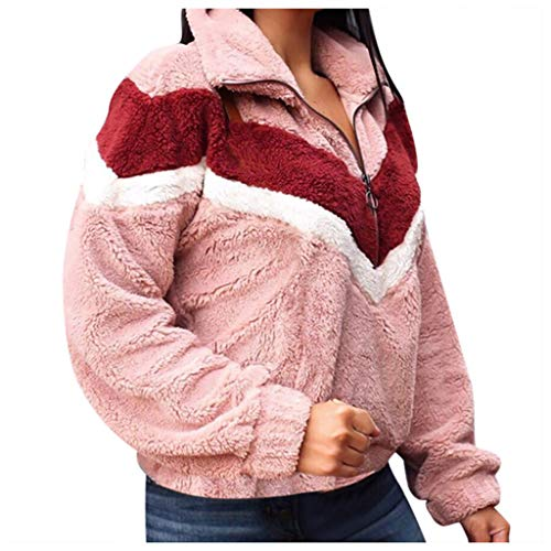 Damen Kontrastfarbe Pulli Pullover Rollkragen Sweatshirt Kapuzenpulli Top Hoodies -