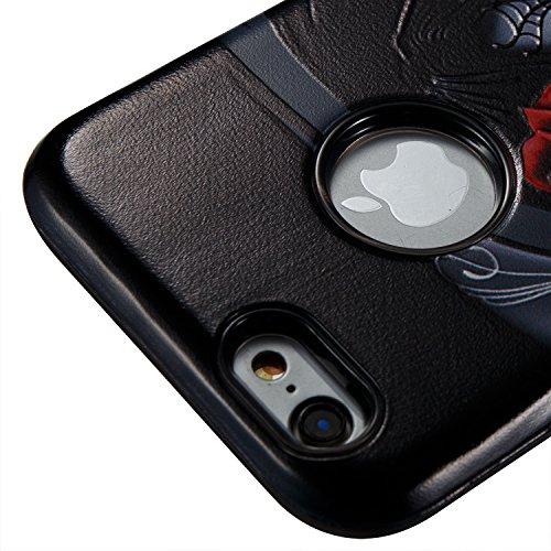 iphone 6s Hülle Schwarz Muster,Silikon Bumper für iPhone 6,Ekakashop Ultra Thin Modisch Luxuriös 2 in 1 Feder-Schädel Design Dual Layer TPU Silikon Defender Shockproof Protective Schutzhülle Fallschut Fenster Mädchen