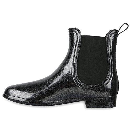 Laque blockabsatz bottes chelsea femme Paillettes/noir