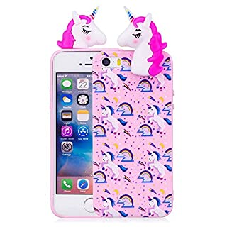 Aeeque iPhone 5S Case Pink, [Candy Series] Lovely Rainbow Horse Pattern and Ultra Thin Soft Crystal Rubber Flexible Bumper [Anti-scratch] Back Protection Covers for iPhone 5/5S/SE