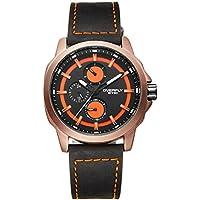 Alienwork Orologio quarzo multi-funzione quarzo sport Modern Cuoio arancione nero