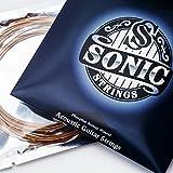 SONIC STRINGS - Gitarrensaiten für die Akustikgitarre - Westerngitarrensaiten - Phosphor Bronze Stahlsaiten Light (12-53) - 6 Saiten-Set inklusive Reinigungstuch