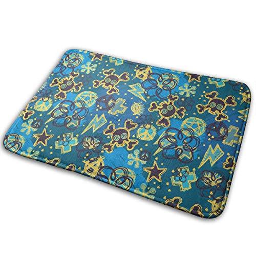 QuGujun Pool Towels Cool Skeleton Hand Drawn Design Bath Mat Non Slip Absorbent Super Cozy Velvet Bathroom Rug Carpet Bath Rugs -